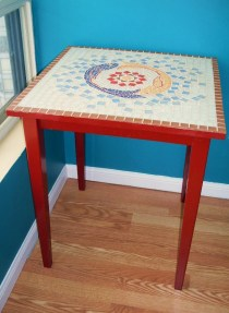 """Sea Cycle. glass tile on solid pine kitchenette table, 30"""" x 30"""""""