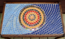 """Abstract. glass tile coffee table, 15"""" x 36"""""""