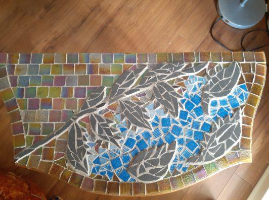 "Springtime. glass and ceramic tile side table, 30"" x 15"""